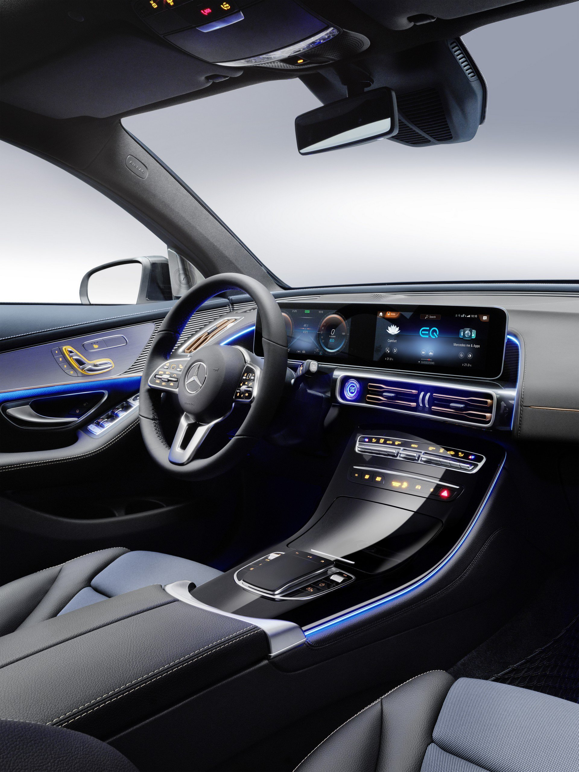 Volante e plancia nuovo Mercedes elettrico EQC 2019