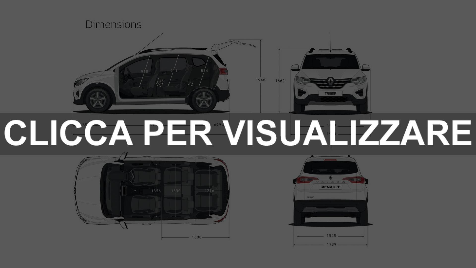 Dimensioni nuovo suv a sette posti Renault Triber