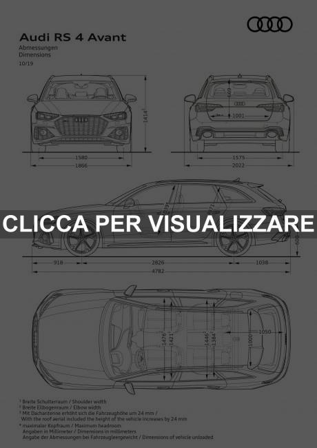 Dimensioni nuova Audi RS4 Avant 2020