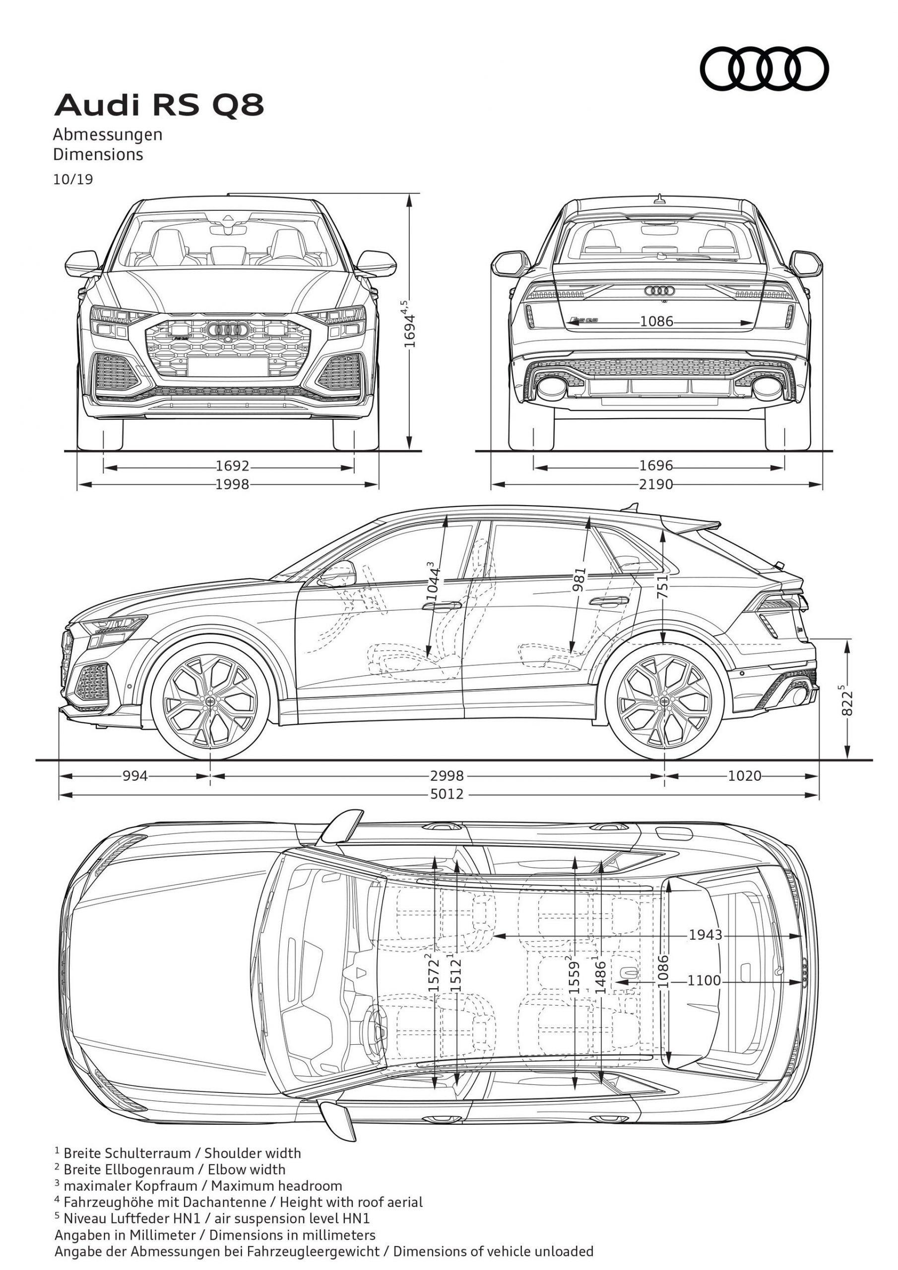 Dimensioni nuovo Audi RSQ8 2020